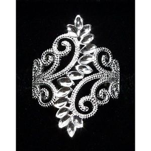 925 STERLING SILVER Leaves & Scrolls Filigree Ring